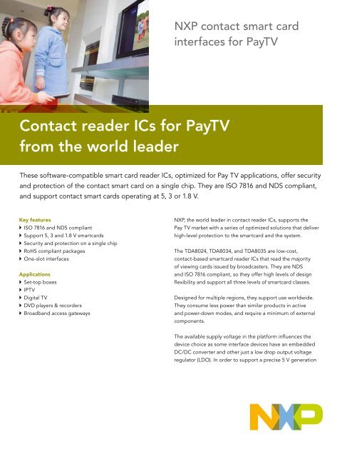 75017063, NXP contact smart card reader in PayTV - NXP com
