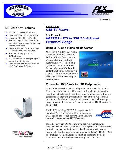 USB TV Tuners NET2282 – PCI to USB 2 0 Hi     - PLX Technology