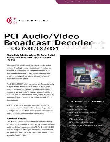 PCl Audio/Video Broadcast Decoder