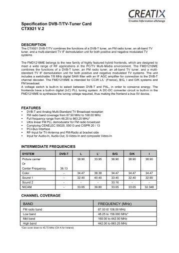 Specification DVB-T/TV-Tuner Card CTX921 V.2 - Creatix