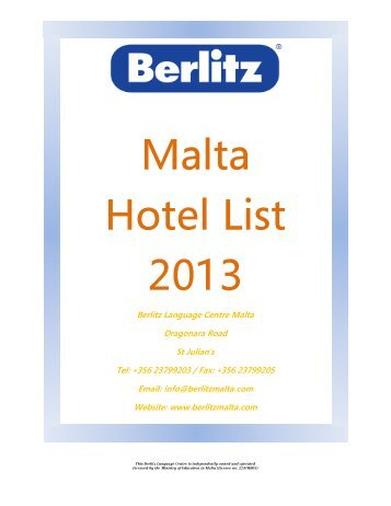 2013 Hotel Prices - Berlitz Malta