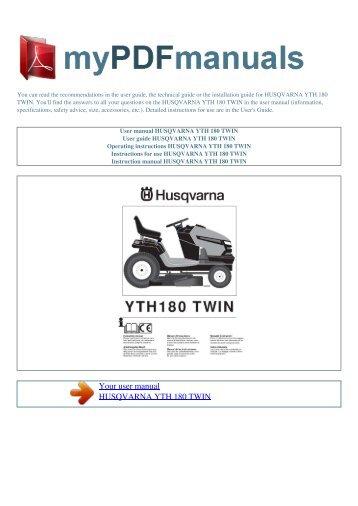 user manual husqvarna yth 150 twin my pdf manuals rh yumpu com husqvarna riding mower manual yth1848xp husqvarna riding mower manual yth1848xp