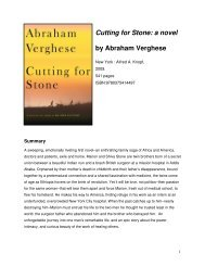 Cutting for Stone: a novel by Abraham Verghese