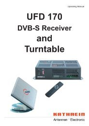 9362705b, Operating Manual UFD 170 DVB-S Receiver ... - Kathrein
