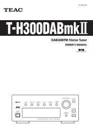 DAB/AM/FM Stereo Tuner OWNER'S MANUAL - TEAC Europe GmbH