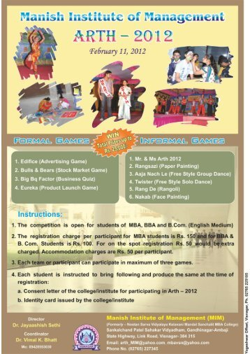 "Manish Institute of Management organize ""ARTH-2012"" - Gujarat ..."