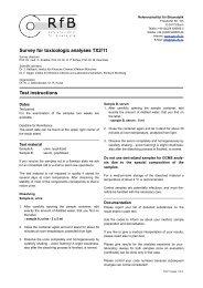 Survey for toxicologic analyses TX2/11 Test instructions