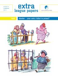 EXTRA league papers | issue 4 | summer 2011 | Slander – Your Entry Ticket to Prison?