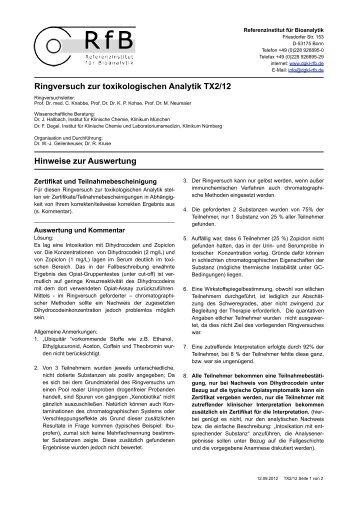 Hinweise zur Auswertung TX2/12 - des RfB