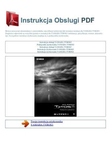 Instrukcja obsługi YAMAHA TYROS3 - INSTRUKCJA OBSLUGI PDF