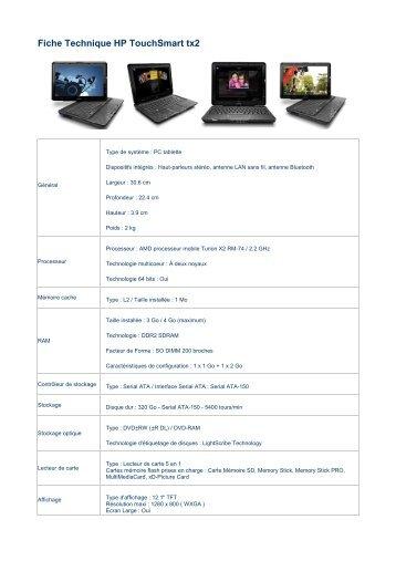 HP TouchSmart tx2 - Fiche Technique - EdlSoft