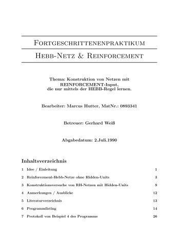 Fortgeschrittenenpraktikum Hebb-Netz ... - of Marcus Hutter