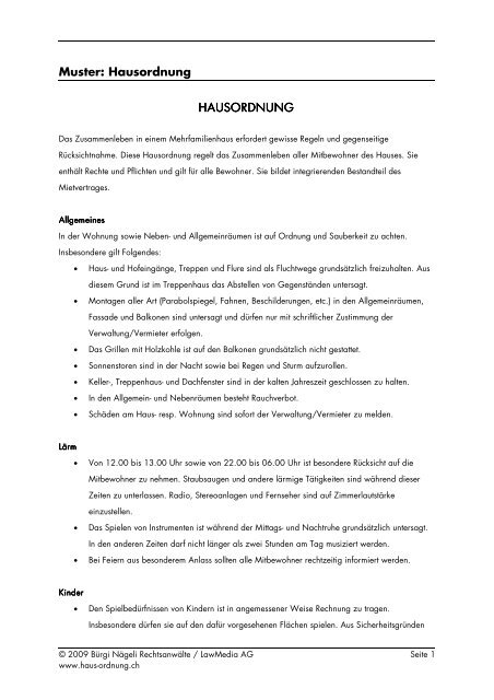 Muster Hausordnung Hausordnung Hausordnung