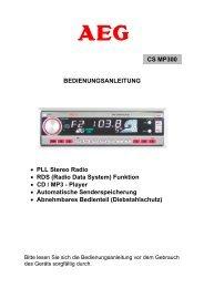 BEDIENUNGSANLEITUNG • PLL Stereo Radio • RDS (Radio Data ...