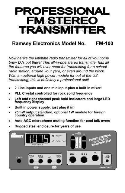 Download PDF Ramsey Electronics Model No FM 100