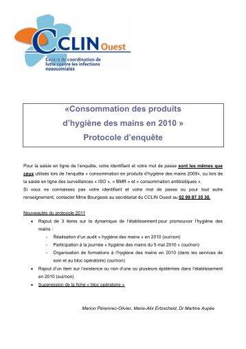 Consommation des produits d'hygiène des mains en ... - CLIN Ouest