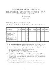 Astronomie und Kosmologie Homework 2: Strahlung / Sterne [40 P]