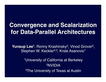 Convergence and Scalarization for Data-Parallel Architectures!