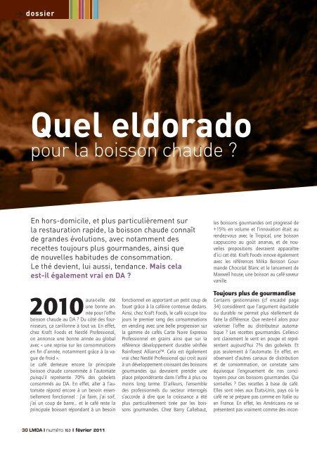 Quel eldorado - Le Monde De La Distribution Automatique