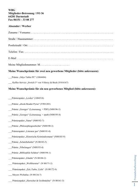 WBG Mitglieder-Betreuung / FO 36 64281 Darmstadt Fax