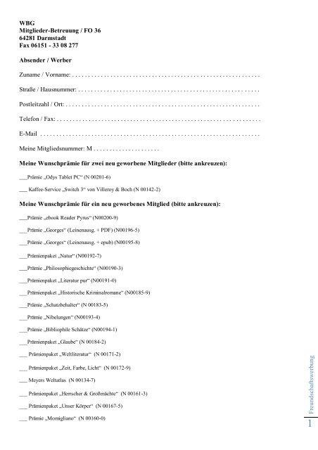 F reu n d sch aftsw erbu n g WBG Mitglieder-Betreuung / FO 36 ...