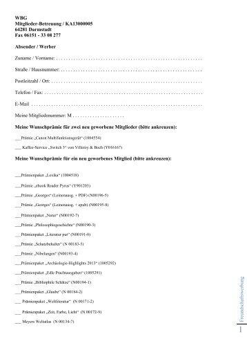 Beitrittsformular - WBG