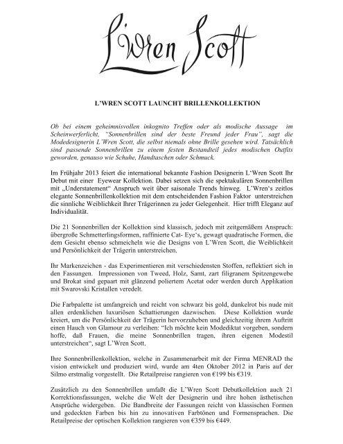 L'WREN SCOTT LAUNCHT BRILLENKOLLEKTION Ob bei ... - Menrad