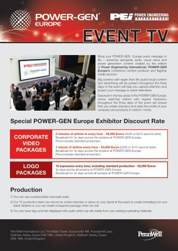 Production Special POWER-GEN Europe Exhibitor Discount Rate