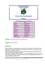 Familiengottesdienst am 25. Juli 1999 Thema: In den Rucksack ...
