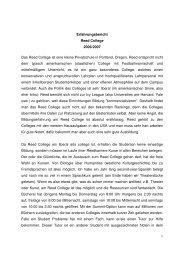 1 Erfahrungsbericht Reed College 2006/2007 Das Reed College ist ...