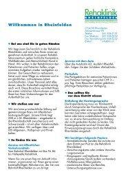 Rehaklinik - bei der Reha Rheinfelden