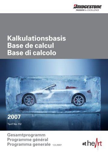 Bridgestone Gesamtprogramm - Tarif 112 - 01.08.2007