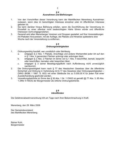 Gefahrenabwehrverordnung über das unbefugte ... - Merenberg