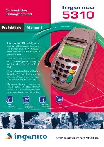 Manuell Ein handliches Zahlungsterminal Ingenico 5310