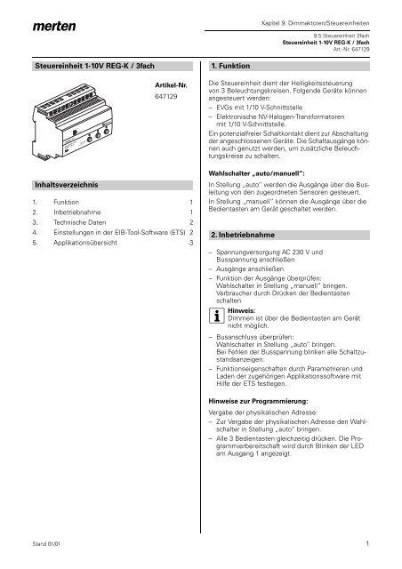 Steuereinheit 1-10V REG-K / 3fach Inhaltsverzeichnis 1. Funktion 2 ...
