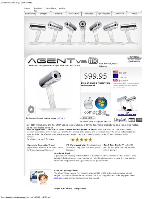 aGent Webcam the iSight for PC and Mac
