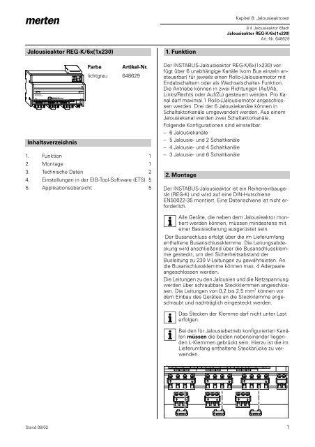 Jalousieaktor REG-K/6x(1x230) Inhaltsverzeichnis 1. Funktion 2 ...