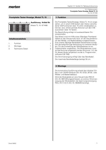 671490 Frontplatte Taster/Anzeige, Modul TL15