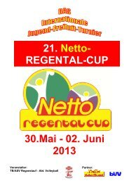 30.Mai - 02. Juni 2013 21. Netto- REGENTAL-CUP - TB Regenstauf