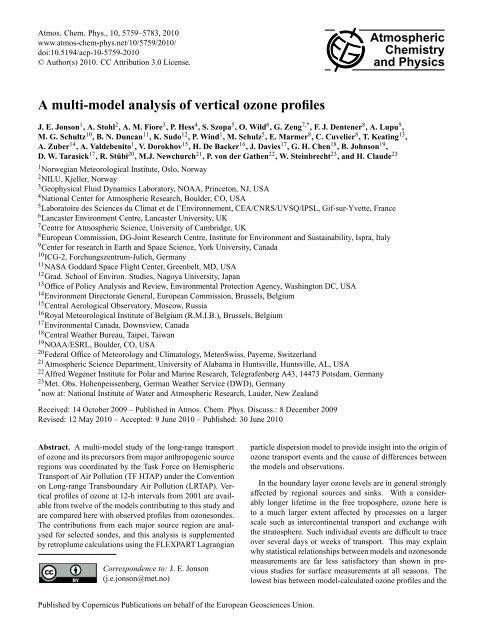 A multi-model analysis of vertical ozone profiles - Atmospheric ...
