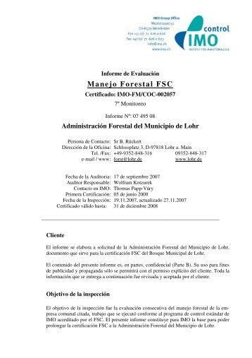 Manejo Forestal FSC - IMO