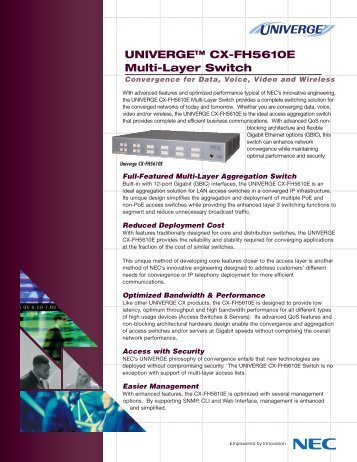 UNIVERGE CX-FH5610E Multi-Layer Switch Data Sheet - Netco