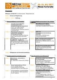 Konferenzprogramm der MECHATRONIC KARLSRUHE 2011 (PDF)