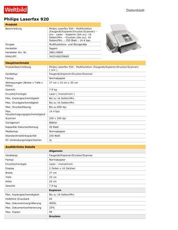 Philips Laserfax 920 - Weltbild.de