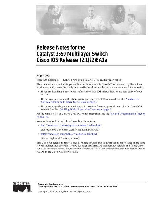 Release Notes for the Catalyst 3550 Multilayer Switch Cisco IOS