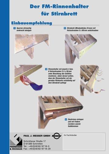 Rinnenhalter für Stirnbrett - Paul J. Messer GmbH