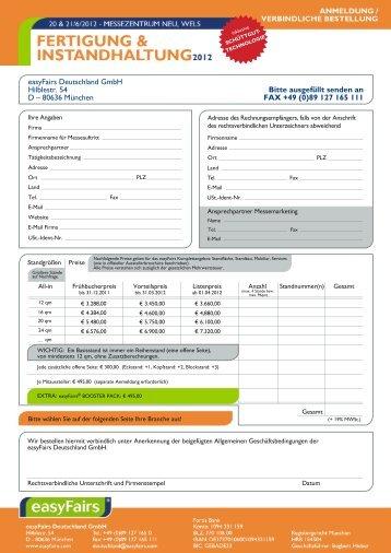 Bitte ausgefüllt senden an FAX +49 (0)89 127 165 111 ... - Messfeld