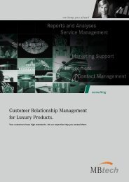 Customer Relationship Management for Luxury ... - MBtech Group