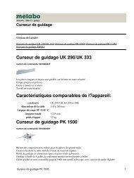 Curseur de guidage PK 1500 - Metabo