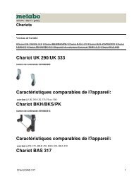 Chariot UK 290/UK 333 Caractéristiques comparables de l ... - Metabo